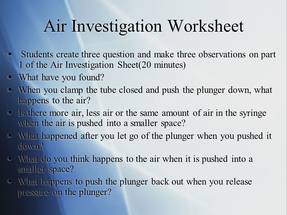 Air Investigation Worksheet