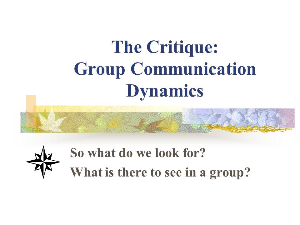The Critique: Group Communication Dynamics