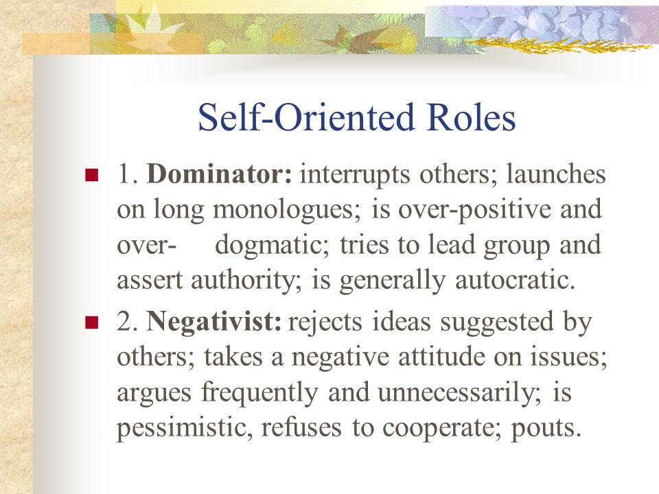 Self-Oriented Roles