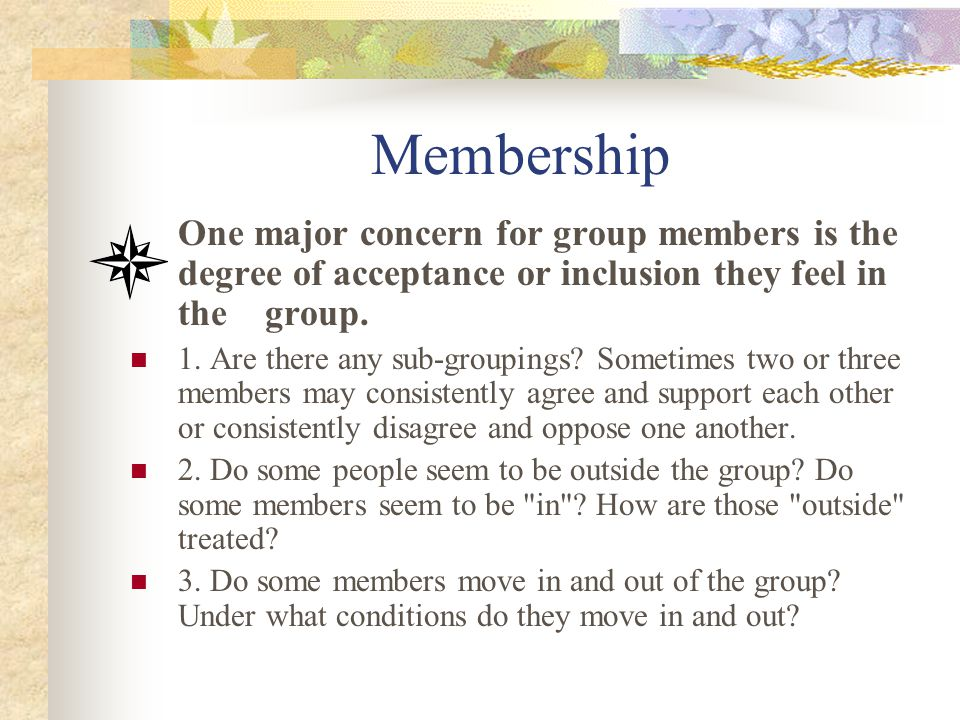 Membership One major concern for group members is the degree of acceptance or inclusion they feel in the group.