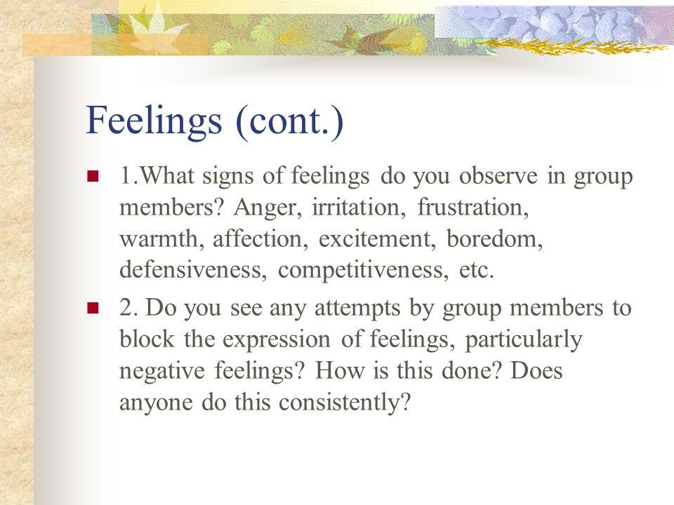 Feelings (cont.)