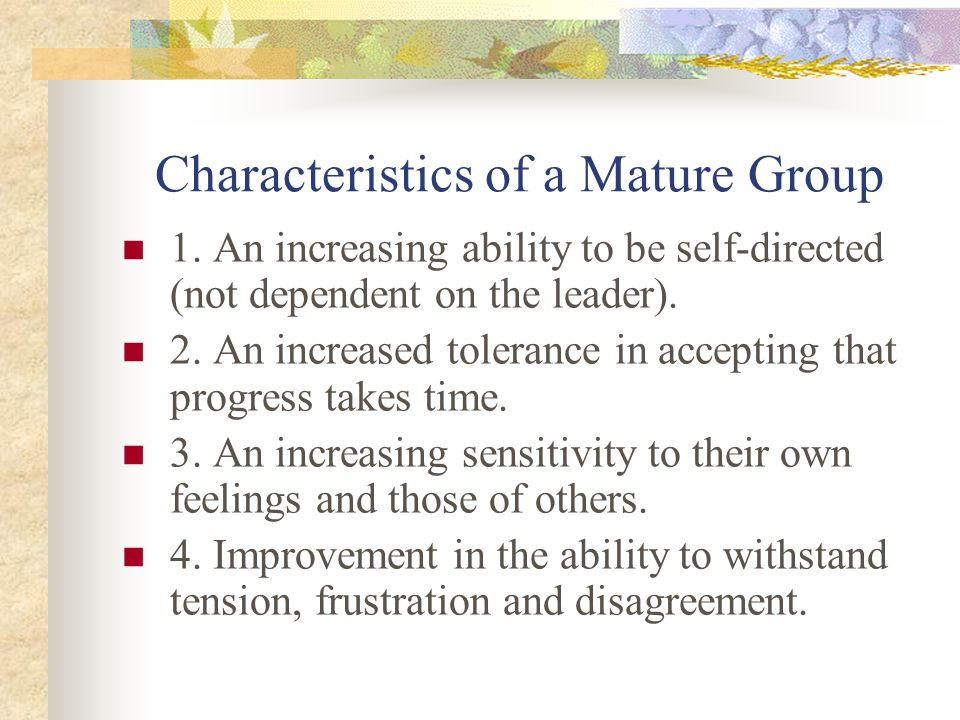 Characteristics of a Mature Group