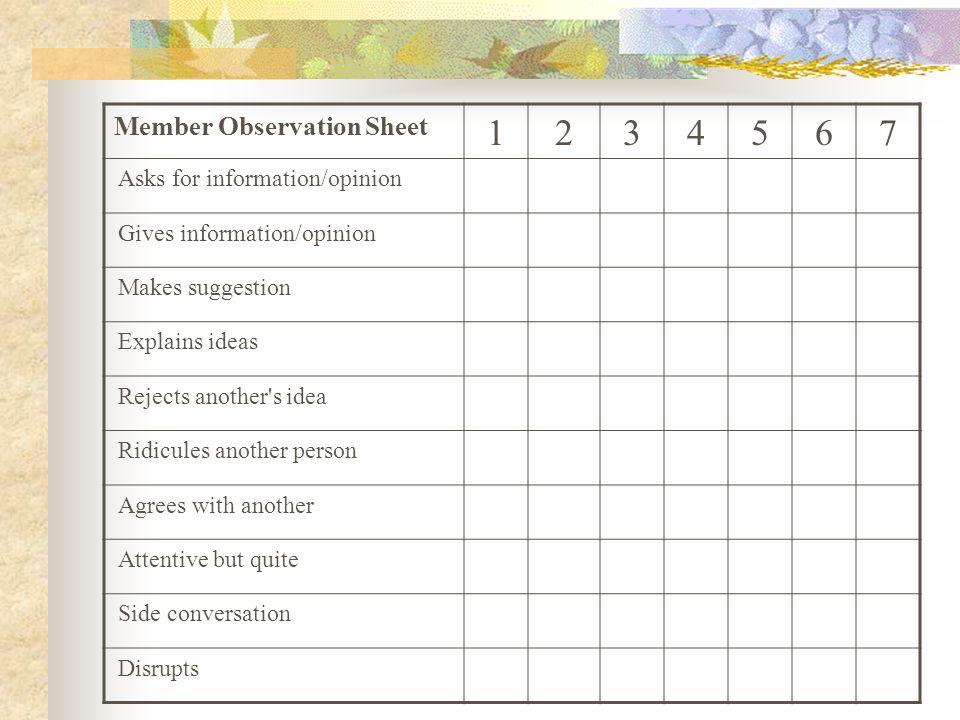 1 2 3 4 5 6 7 Member Observation Sheet Asks for information/opinion