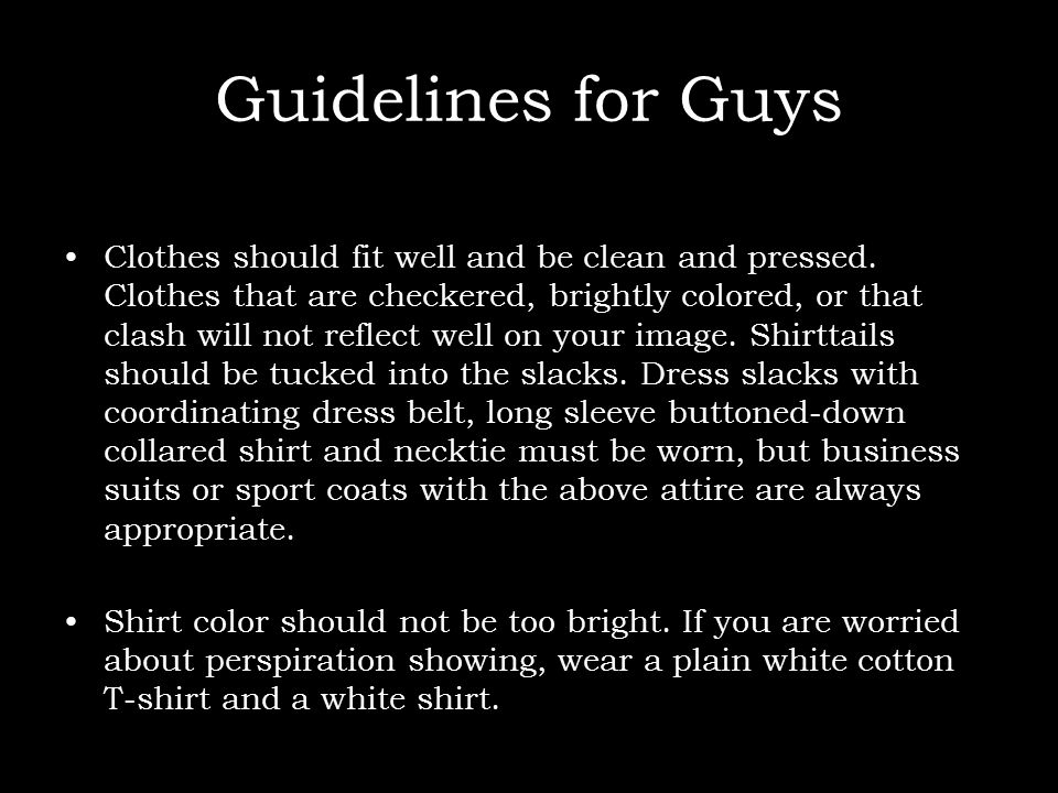 Guidelines for Guys