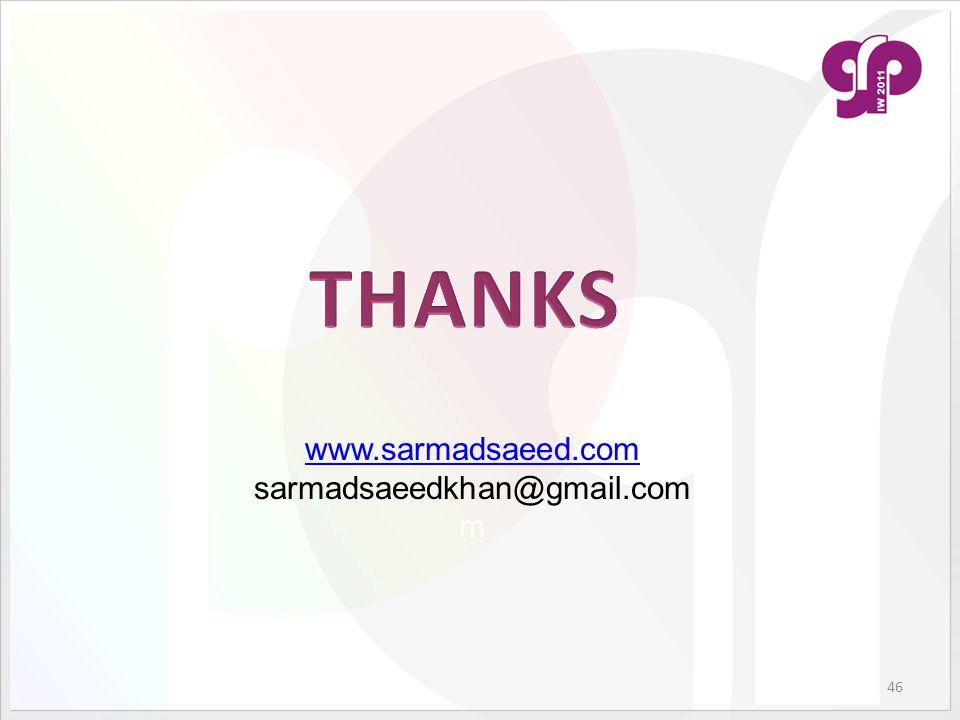 THANKS www.sarmadsaeed.com sarmadsaeedkhan@gmail.comm