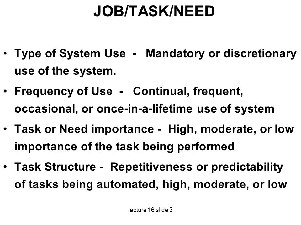 JOB/TASK/NEED Type of System Use - Mandatory or discretionary use of the system.