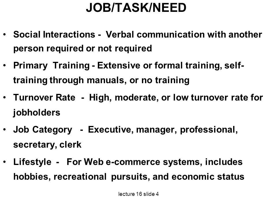 JOB/TASK/NEED Social Interactions - Verbal communication with another person required or not required.