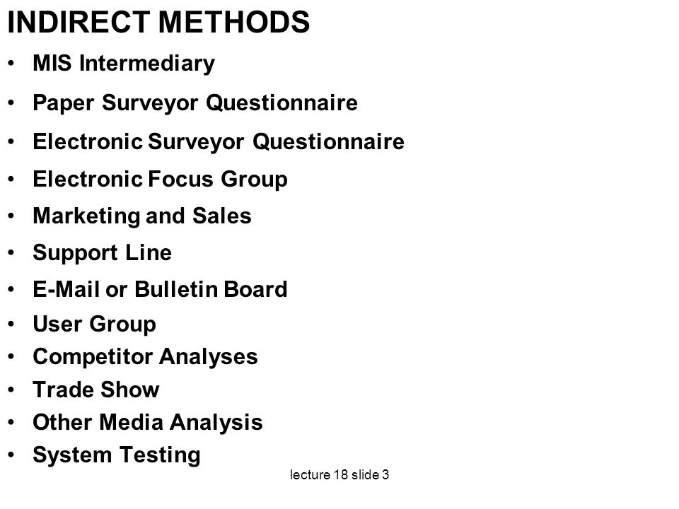 INDIRECT METHODS MIS Intermediary Paper Surveyor Questionnaire
