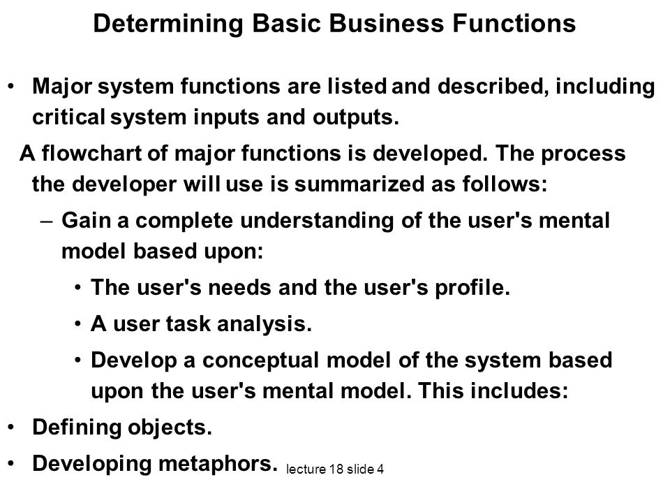 Determining Basic Business Functions