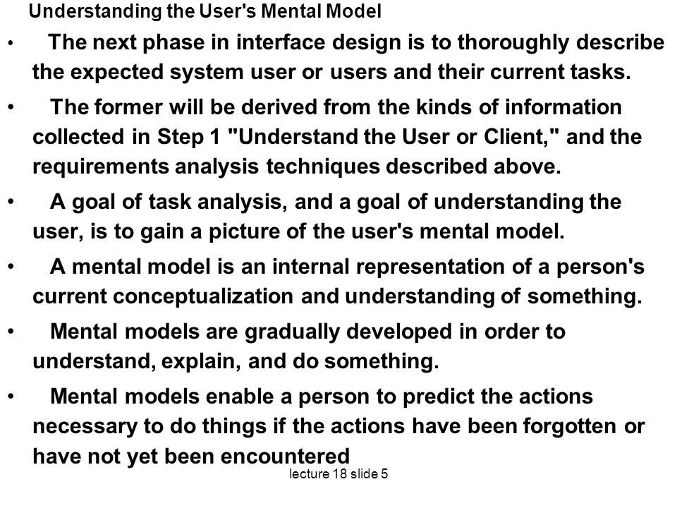Understanding the User s Mental Model