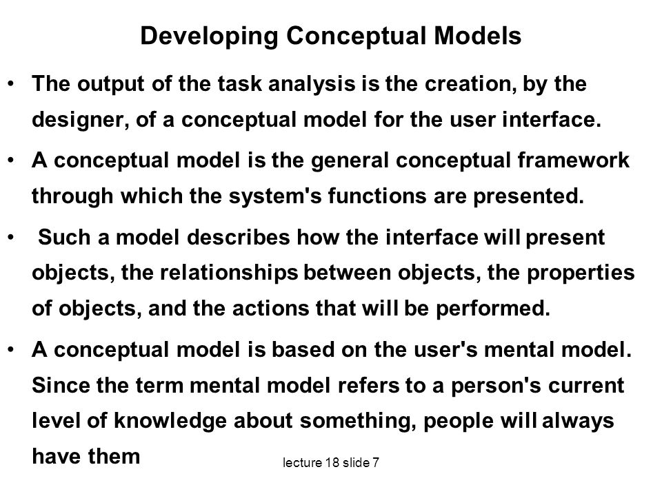 Developing Conceptual Models