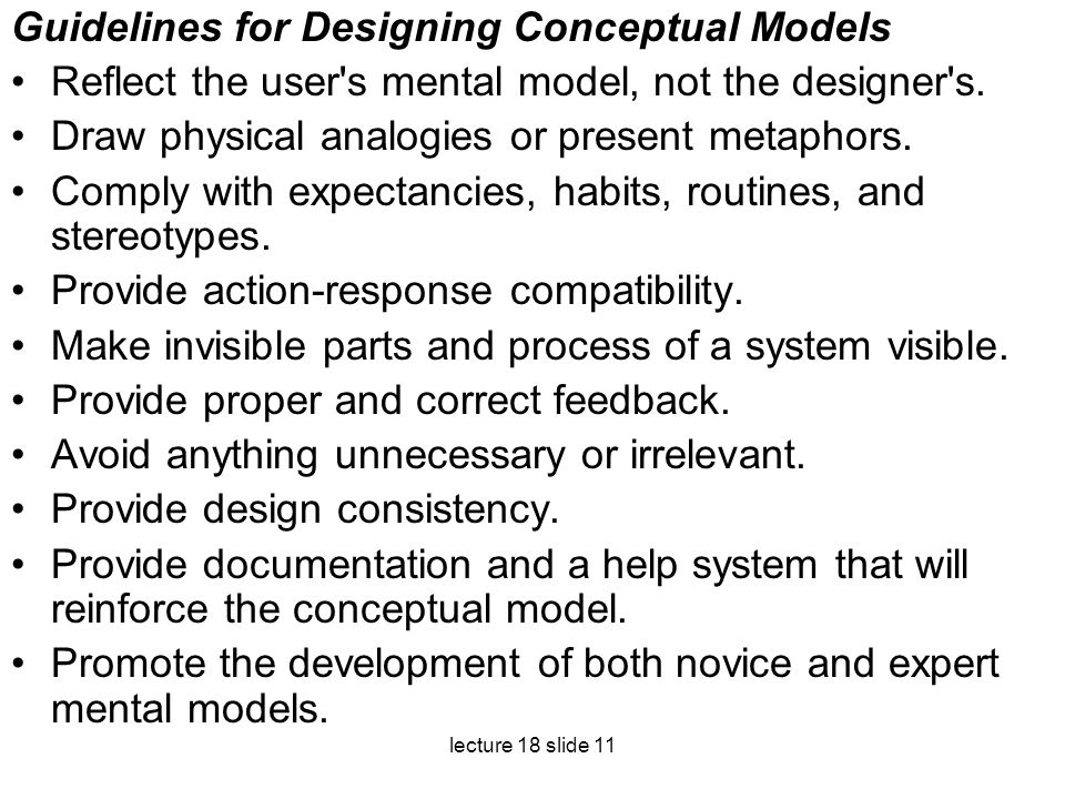 Guidelines for Designing Conceptual Models