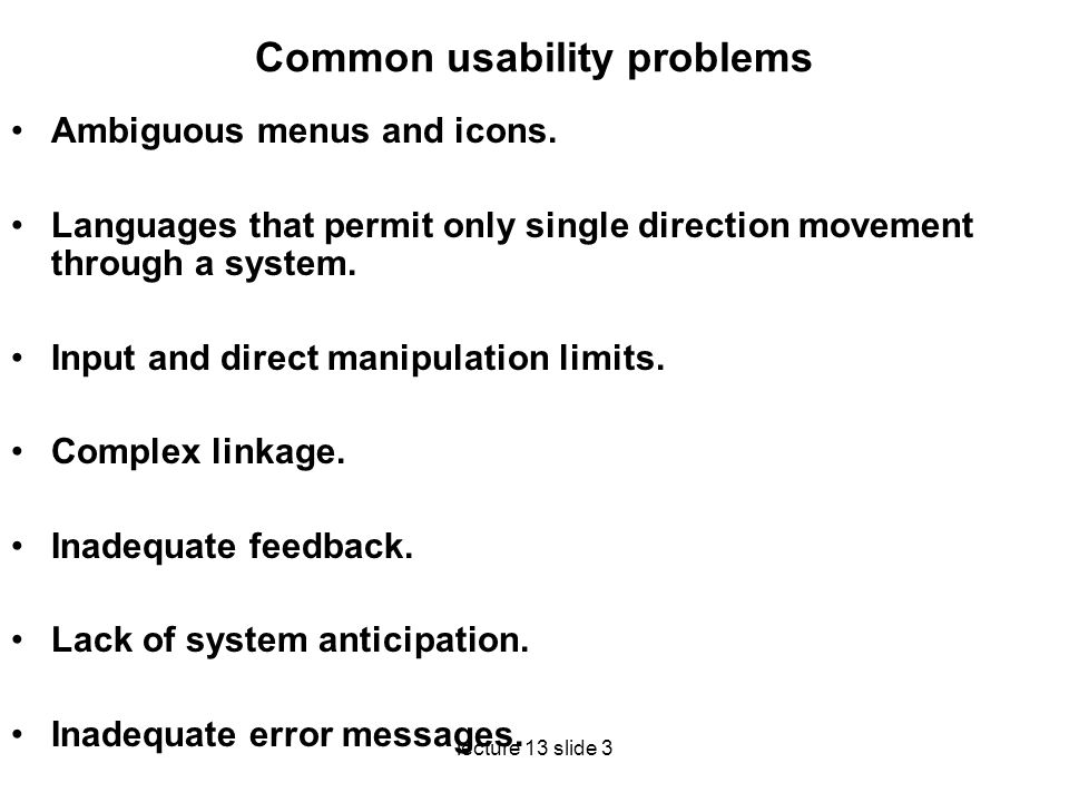 Common usability problems