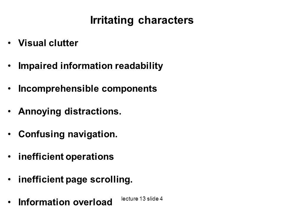 Irritating characters