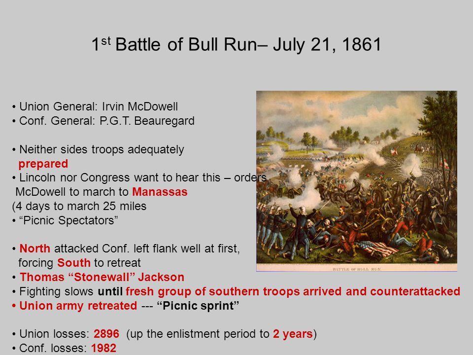 1st Battle of Bull Run– July 21, 1861