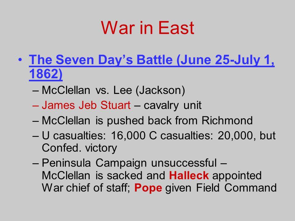 War in East The Seven Day's Battle (June 25-July 1, 1862)
