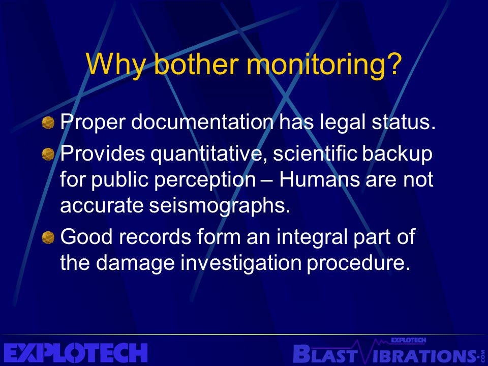 Why bother monitoring Proper documentation has legal status.
