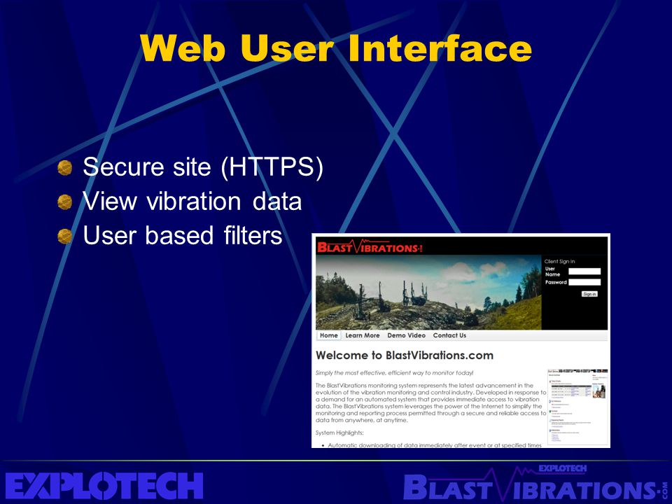 Web User Interface Secure site (HTTPS) View vibration data