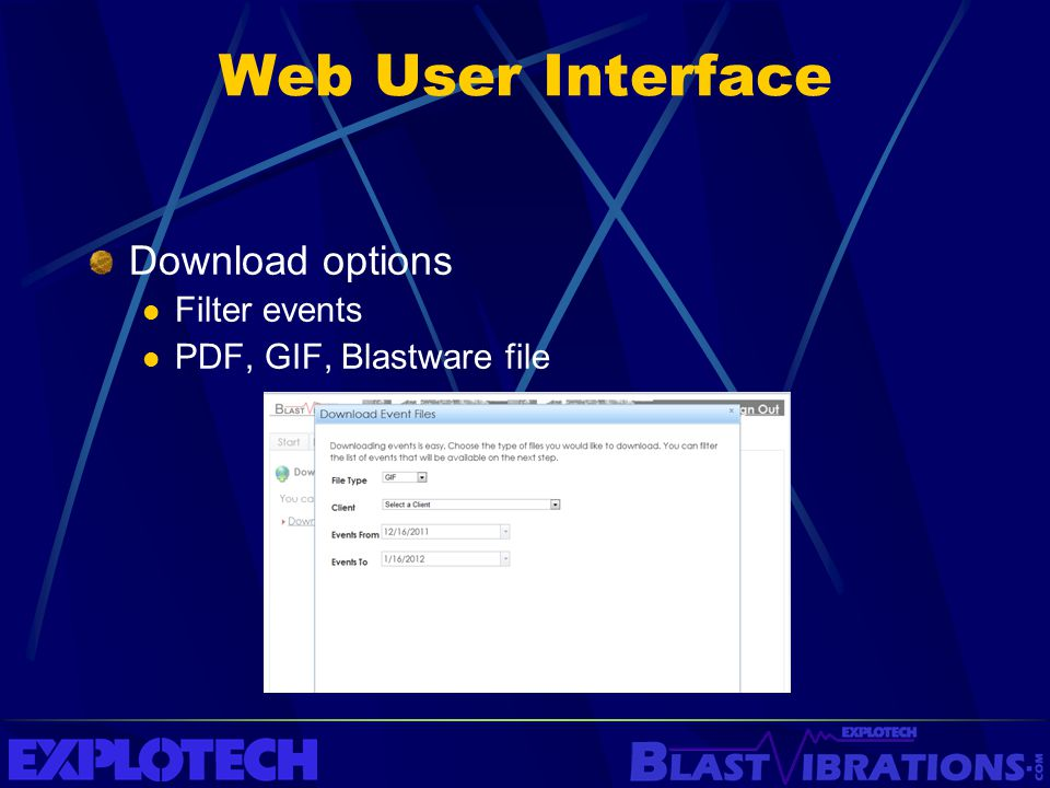 Web User Interface Download options Filter events