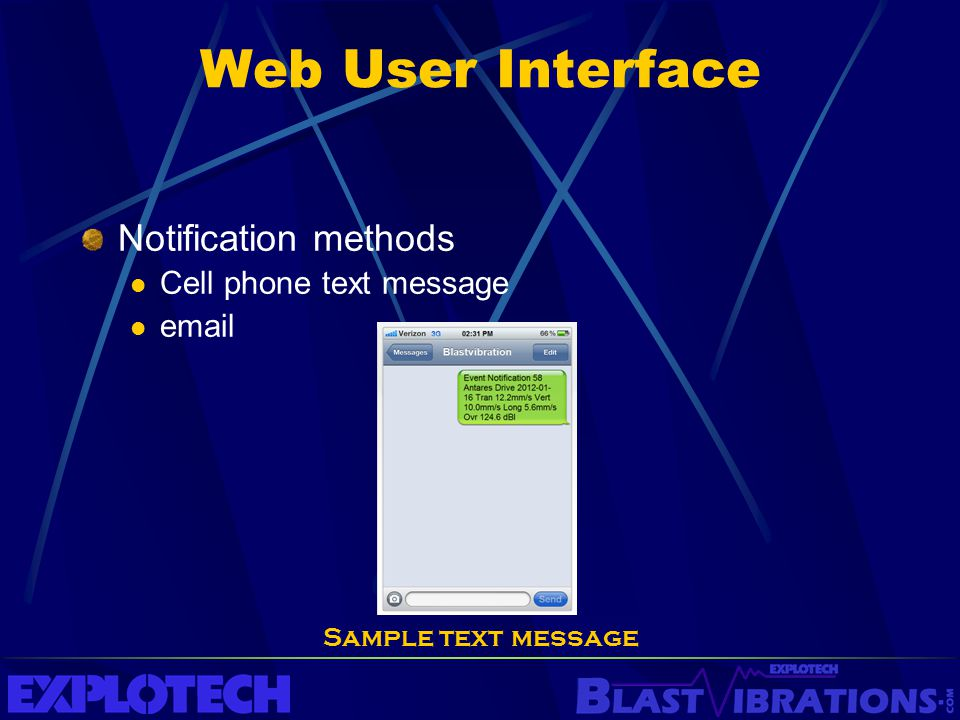 Web User Interface Notification methods Cell phone text message email