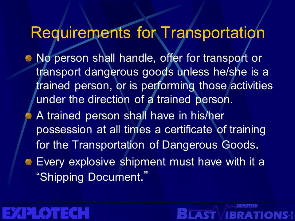 Requirements for Transportation