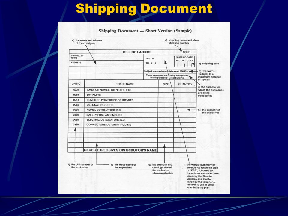 Shipping Document The shipping document shall contain: