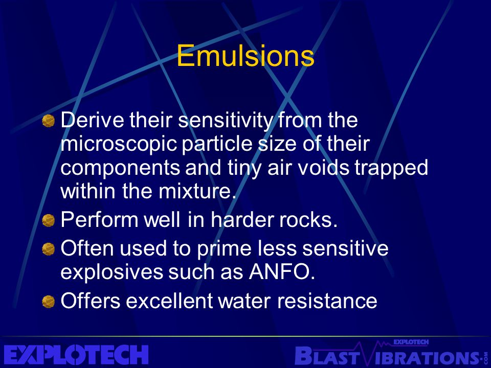 Emulsions Derive their sensitivity from the microscopic particle size of their components and tiny air voids trapped within the mixture.