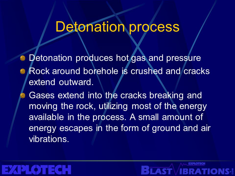 Detonation process Detonation produces hot gas and pressure