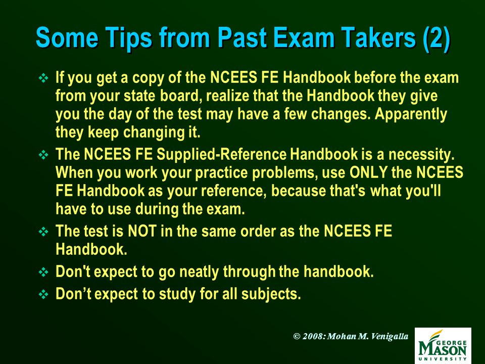 Some Tips from Past Exam Takers (2)