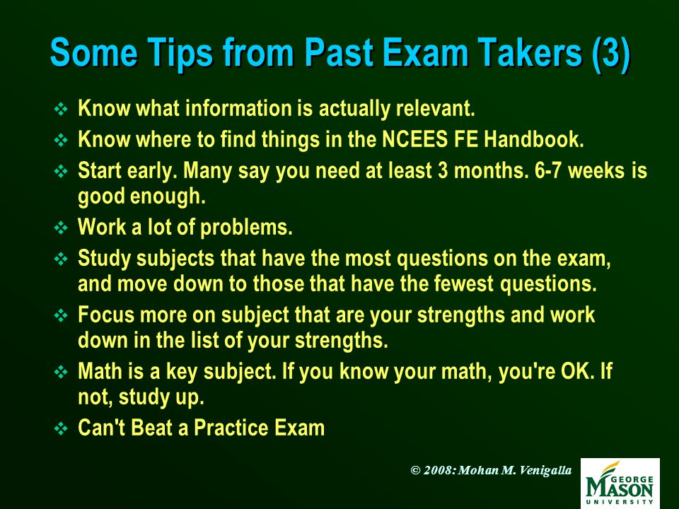Some Tips from Past Exam Takers (3)