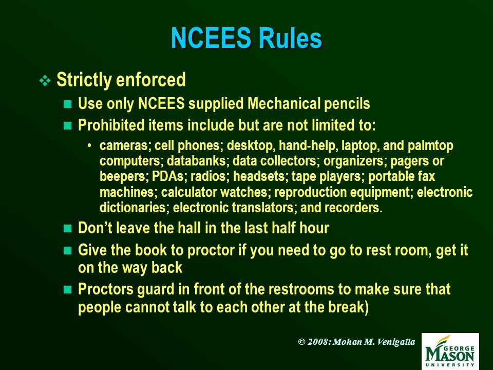 NCEES Rules Strictly enforced