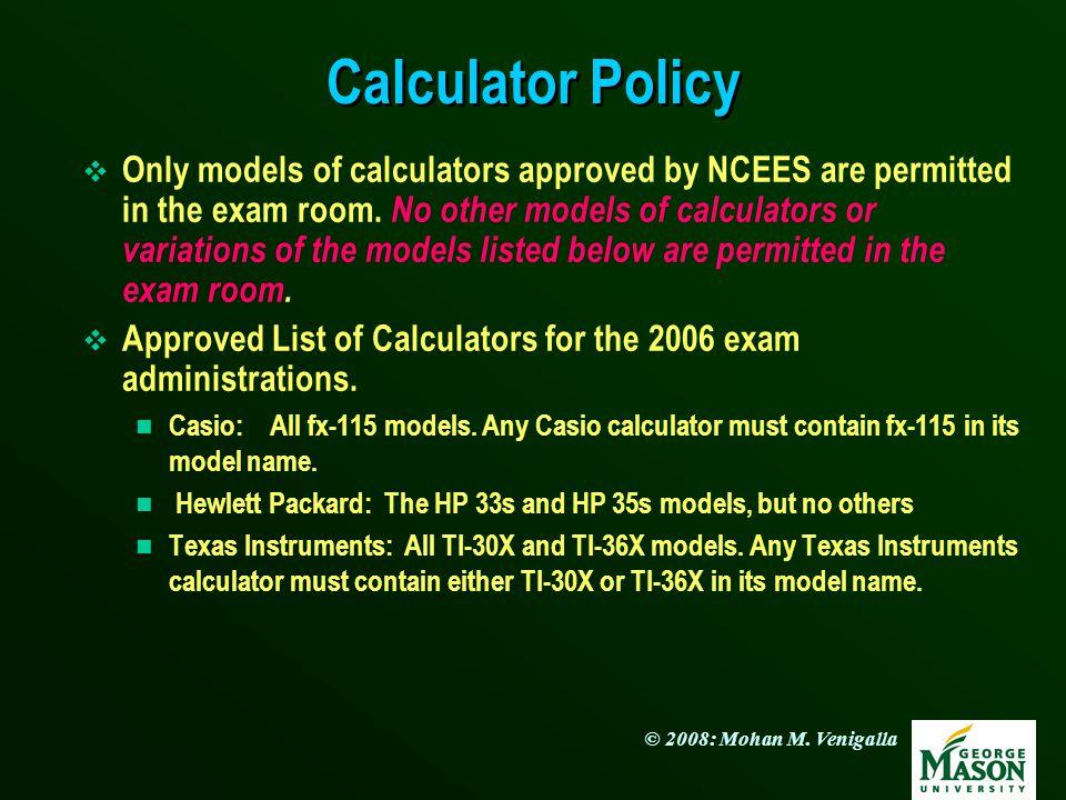 Calculator Policy