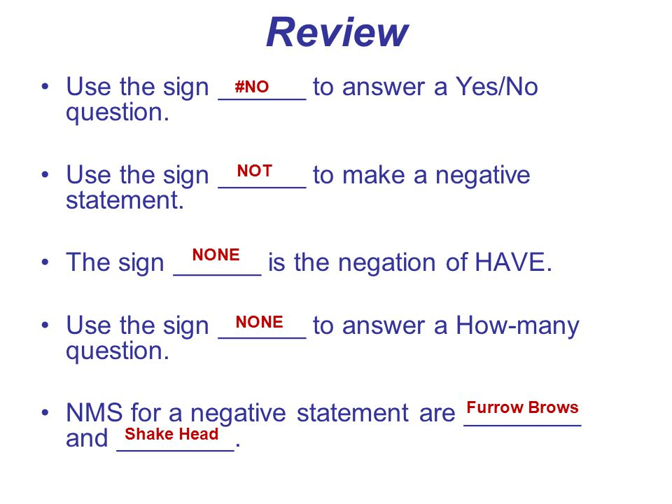 Review Use the sign ______ to answer a Yes/No question.