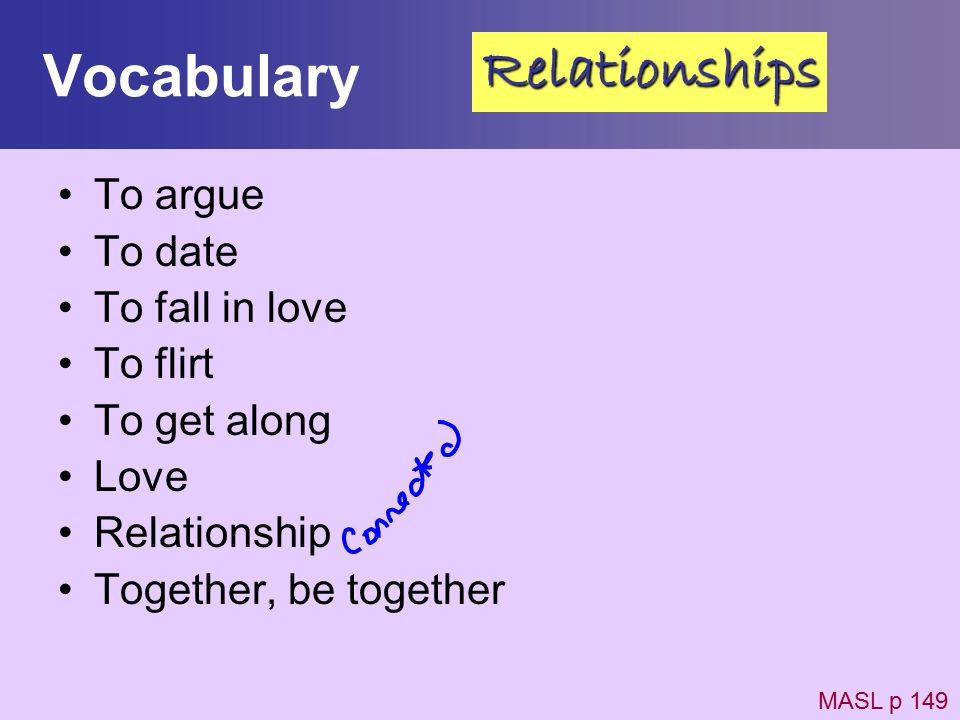 Vocabulary Relationships To argue To date To fall in love To flirt
