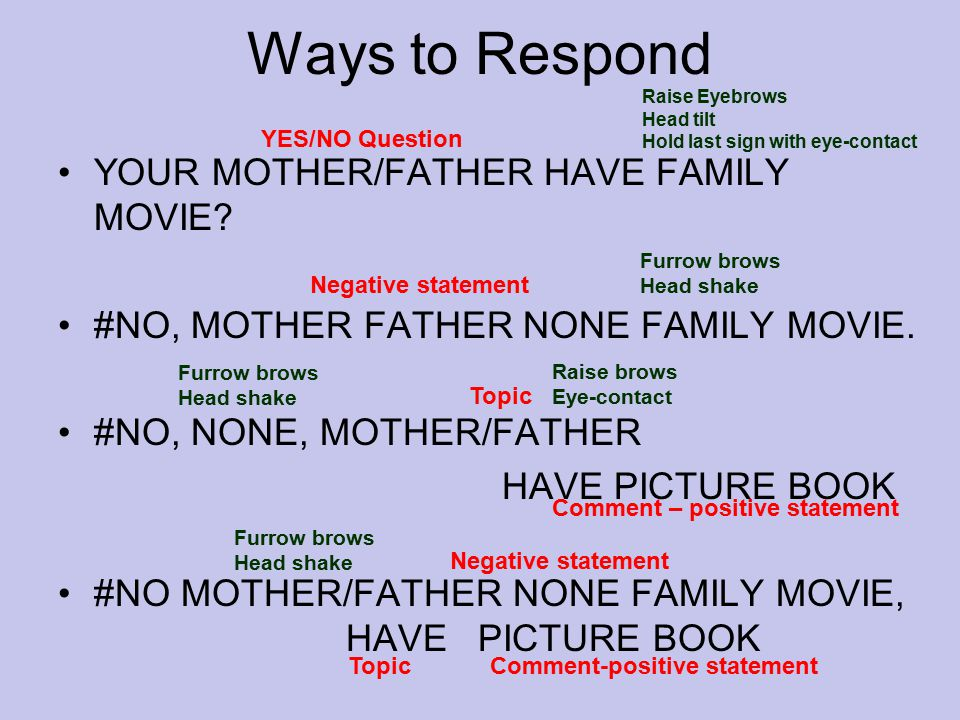 Ways to Respond YOUR MOTHER/FATHER HAVE FAMILY MOVIE