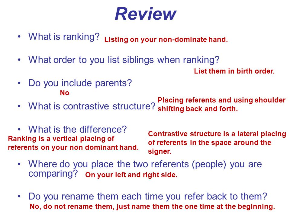 Review What is ranking What order to you list siblings when ranking