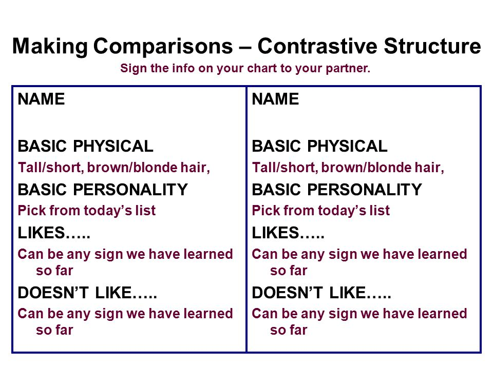 Making Comparisons – Contrastive Structure