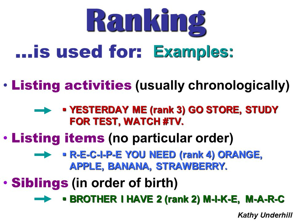 Ranking …is used for: Examples: