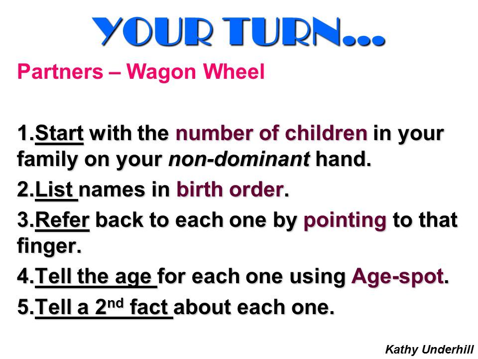 YOUR TURN… Partners – Wagon Wheel