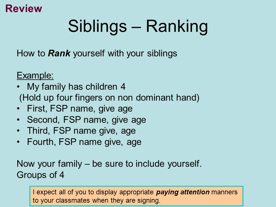 Siblings – Ranking Review How to Rank yourself with your siblings