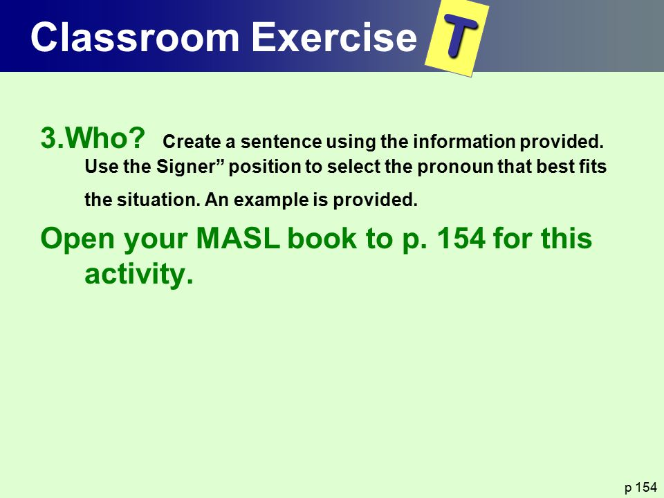 Classroom Exercise T.