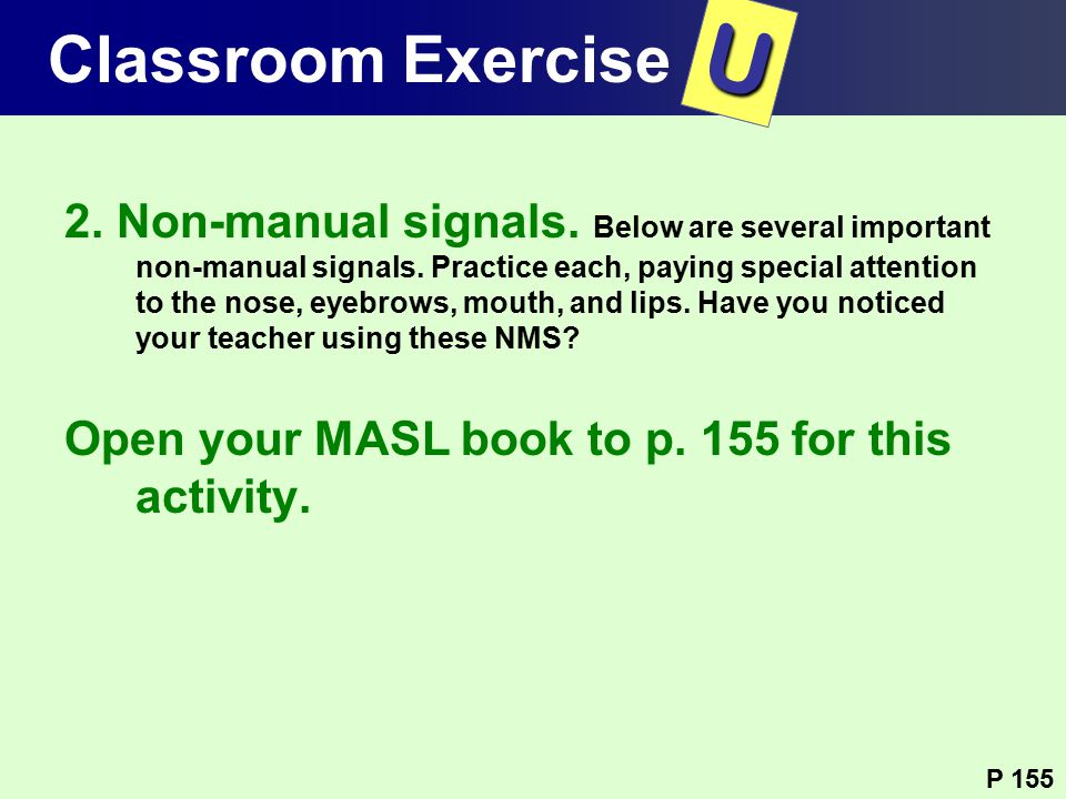T U Classroom Exercise Classroom Exercise