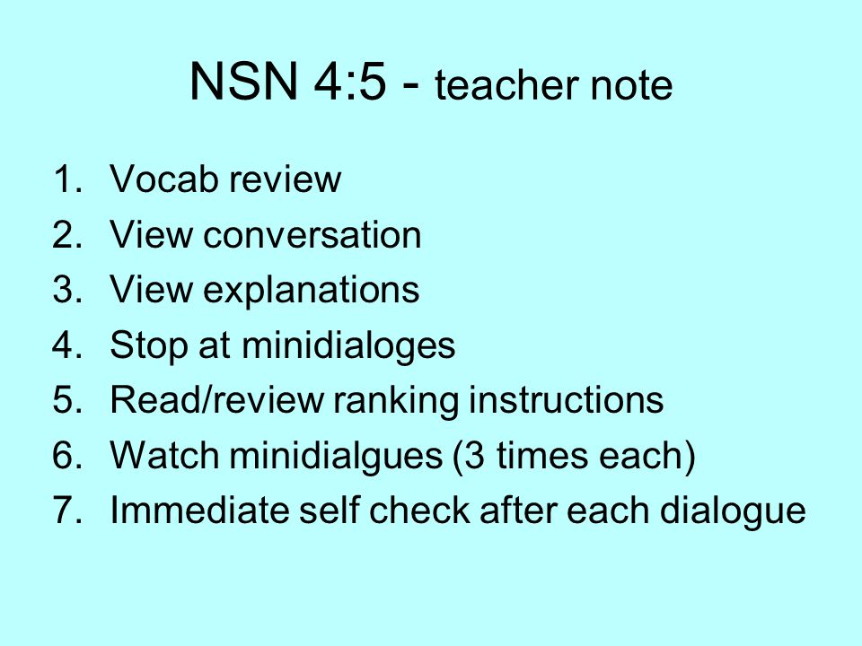 NSN 4:5 - teacher note Vocab review View conversation