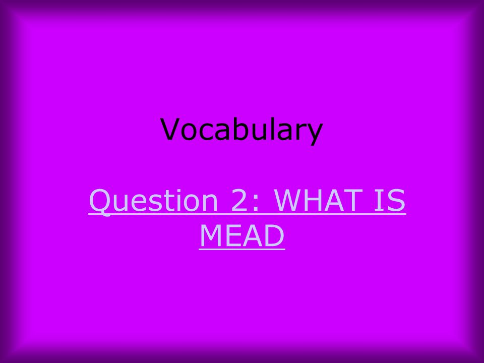 Vocabulary Question 2: WHAT IS MEAD