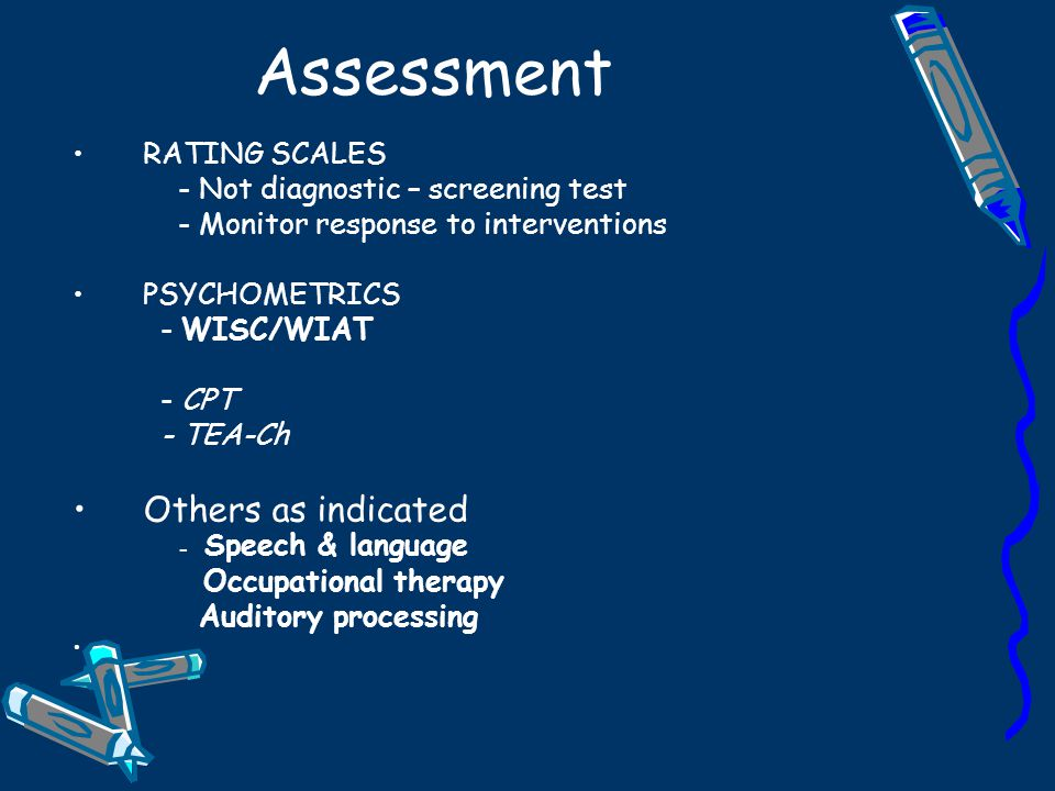 Assessment Others as indicated - Speech & language RATING SCALES
