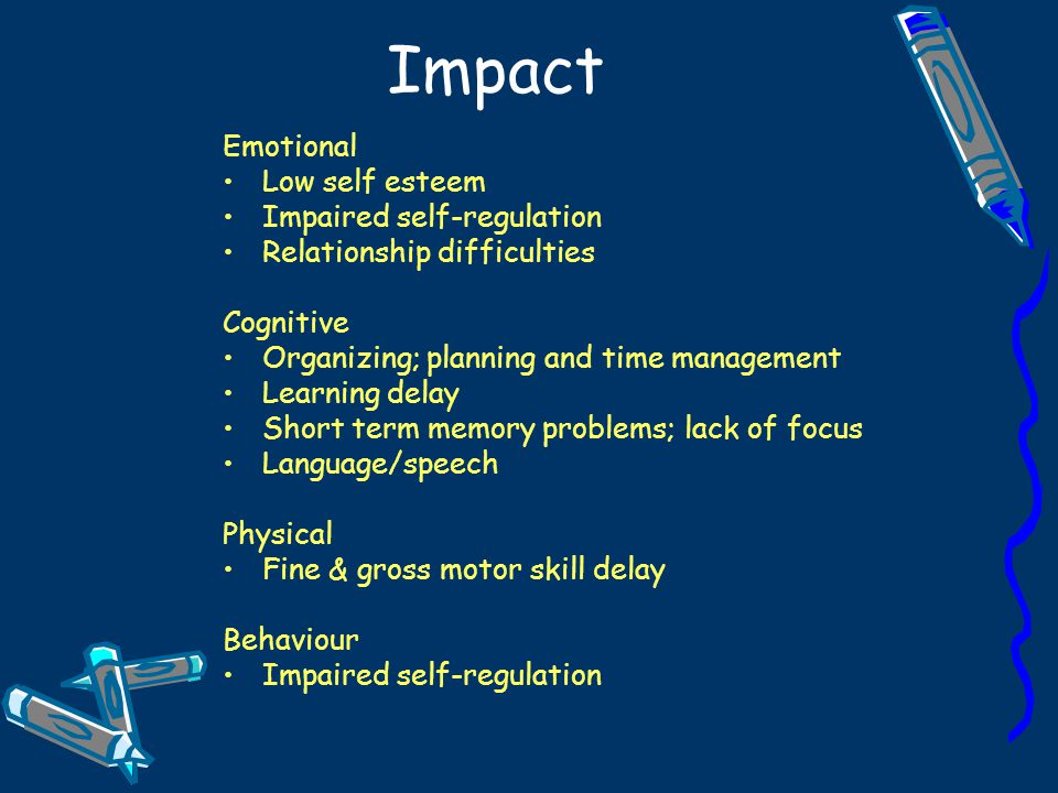 Impact Emotional Low self esteem Impaired self-regulation