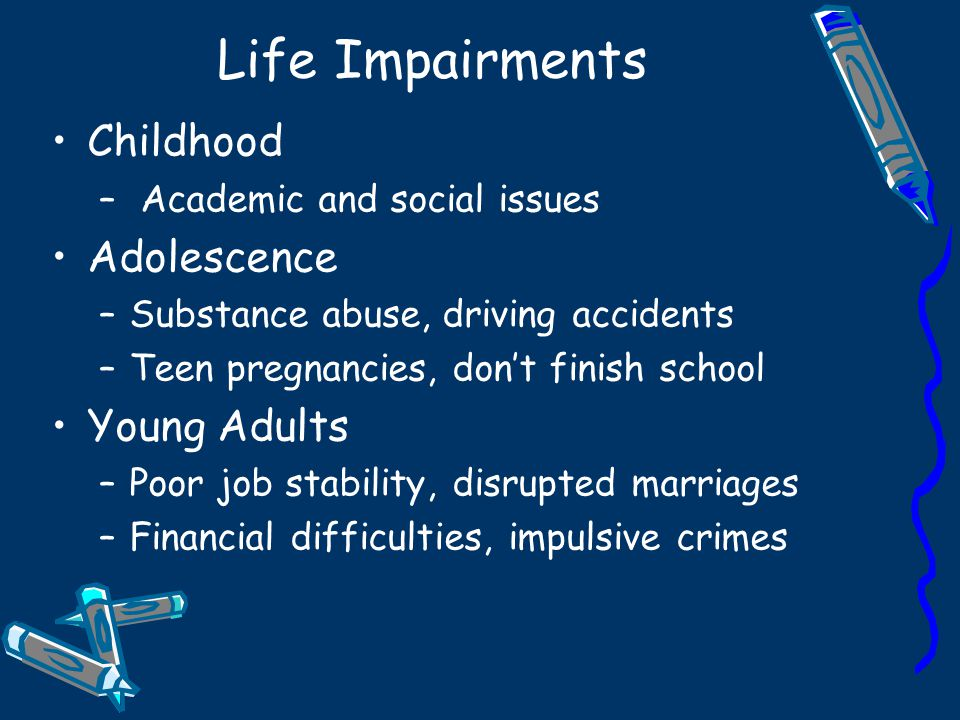 Life Impairments Childhood Adolescence Young Adults