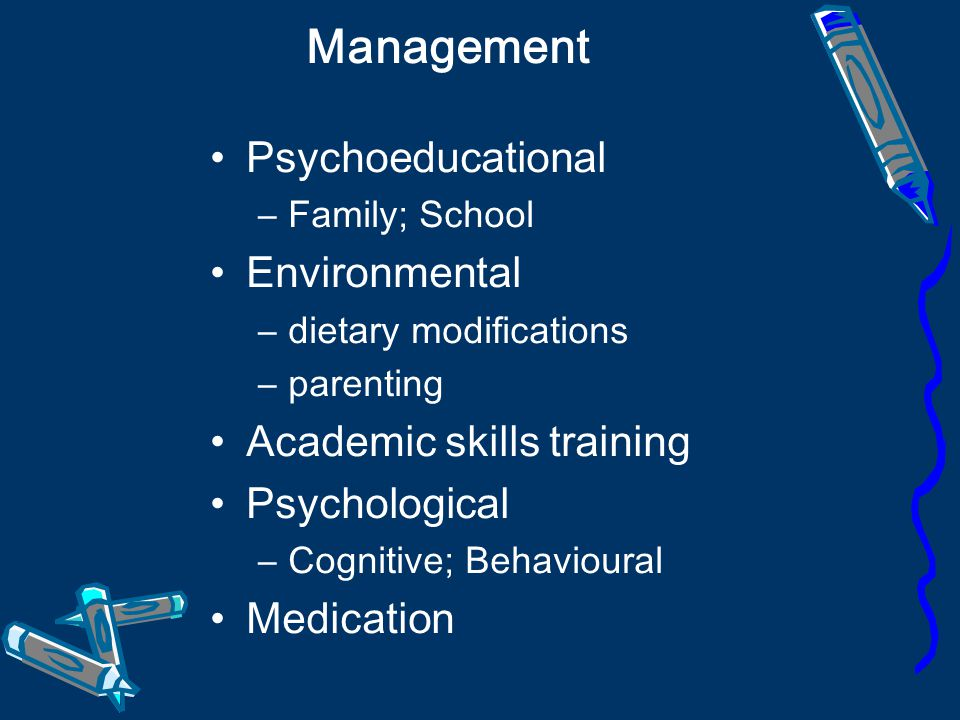 Management Psychoeducational Environmental Academic skills training