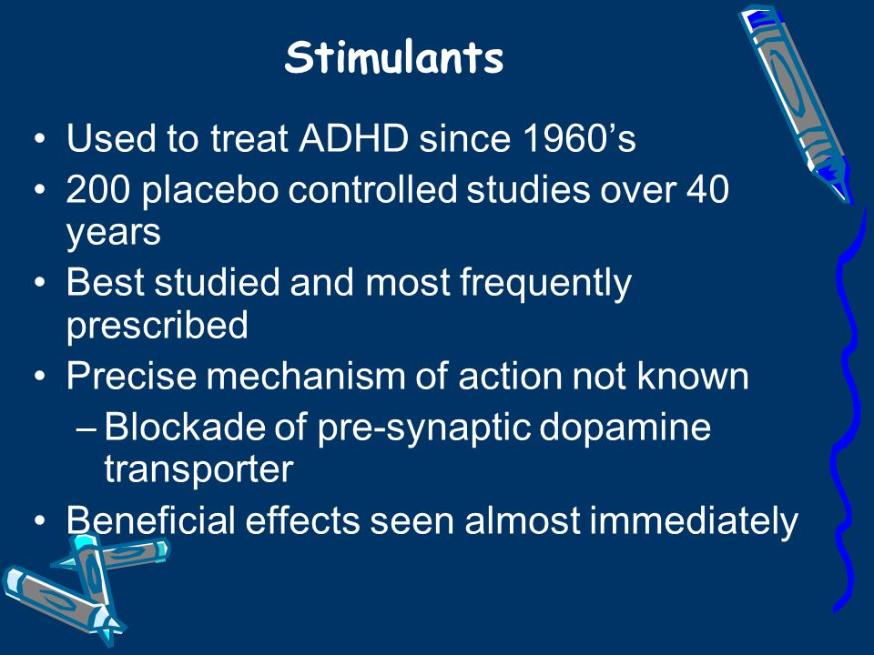 Stimulants Used to treat ADHD since 1960's