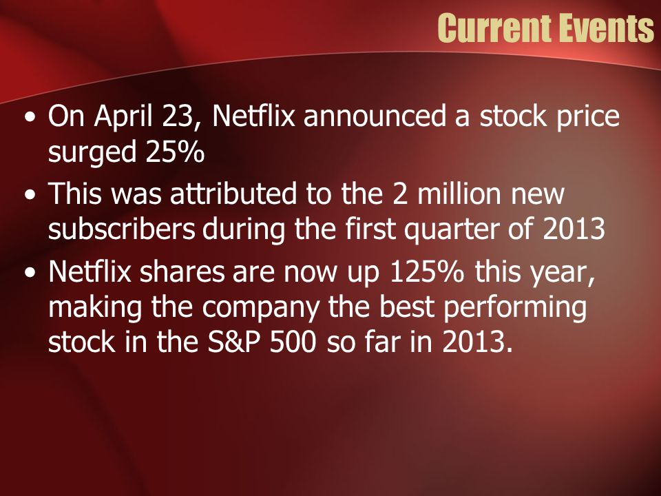 Current Events On April 23, Netflix announced a stock price surged 25%